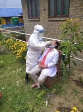 staff member getting tested