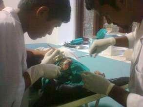 Stitching a head wound