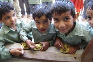 Kids enjoying the nutritional supplement snack