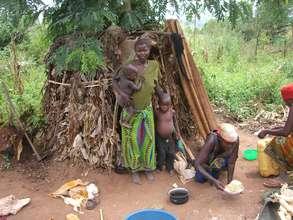 A widow with her 2 children