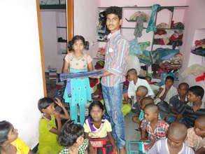 destitute orphan child receiving bag