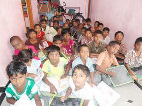 street orphan children in ashramam at tution