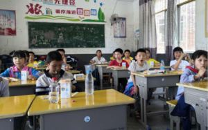 students with new desks and chairs