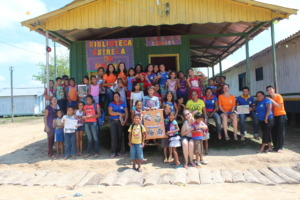 Kids and volunteers of the community library