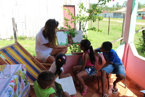 Story telling at Ms. Edna's home