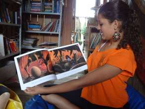 Tassia during reading mediation session for kids