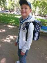 Nikita with his new school bag