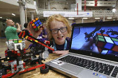 Coolest Projects Winner with her Rubix Cube Solver