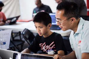 Parents help out at CoderDojo NYC