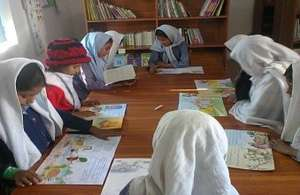 Students in their library