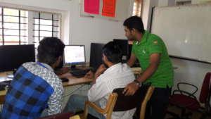 Students using Computer facilities at Library