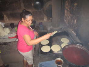 Proud Geissel hard at work making tortillas
