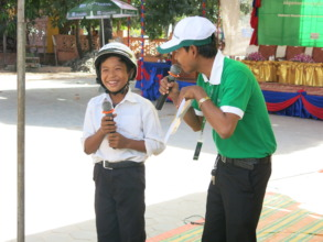 A student in Siem Reap discusses road safety.