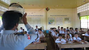 Police teach students the importance of helmets