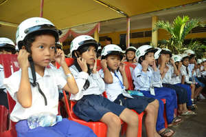 Students with their new helmets