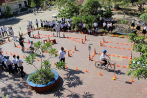 Students practice skills on a road safety course