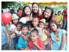 Happy Children with Happy Volunteers