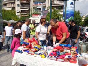 food we collected for refugees by Greek citizens