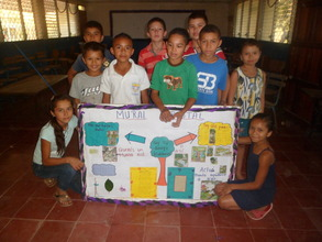 Youth with forestry mural they created