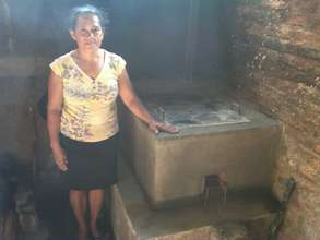 Juana Mejia with her new improved cookstove