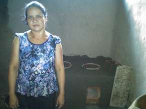 Martha Gonzalez with her new improved cookstove