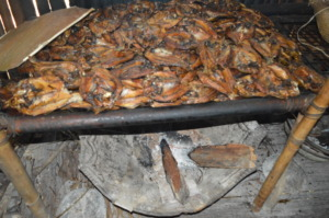 Roasting fish in an open fire oven