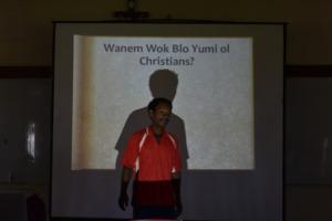A local representative giving his presentation