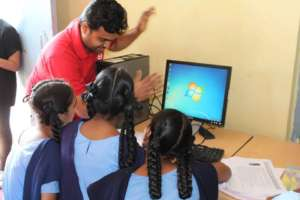 Teaching basics of computers to govt school kids