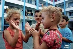 Children taking refuge in UNRWA school in Gaza