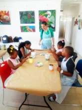 Painting during the July 2020 art program