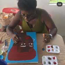 Painting during the adult class