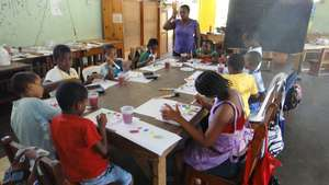 Georgetown children in a painting session