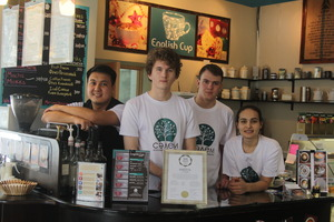 The cafe team (spot the old English Cup sign!)