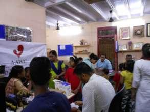 Udaan beneficiaries health check-up camp.