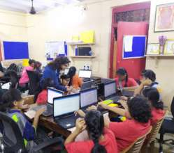 Computer classes for Udaan beneficiaries.