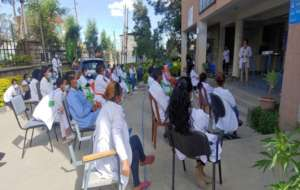 Health workers receiving Covid-19 training