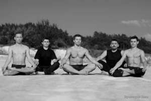 Vlad (2nd on the left) with his fellow yogis
