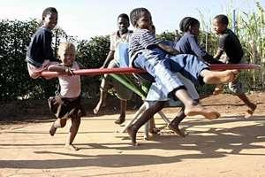 Kids having fun on the PlayPump Merry-Go-Round