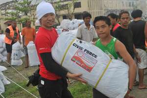 Civic Force distributes tents in Tanauan, Leyte