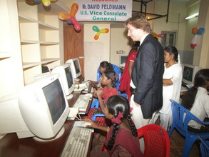 Students with computers