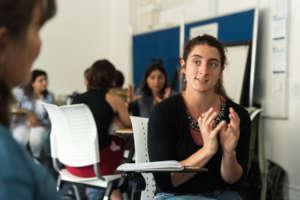 Emma Courtine (GEN Member) in discussion at GESA18