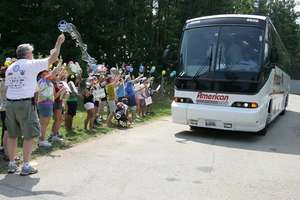Bus Arrival at Summer Camp