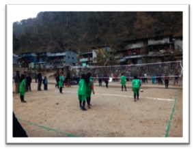Girls' volleyball competition at Singati village