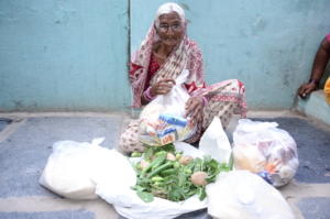 Donating monthly groceries to poor senior citizen