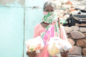 Sponsoring poor oldage woman with monthly grocery