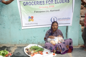 Donating food groceries to poor senior citizens