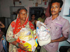 Caring for elderly people by donating food