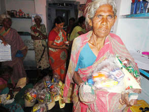 old age women receiving monthly food support
