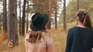 Dobrina and Svetoslava walking in the park