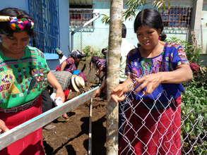Women installing fence
